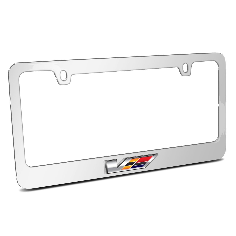 Cadillac V 3D Embossed Logo Mirror Chrome Metal License Plate Frame