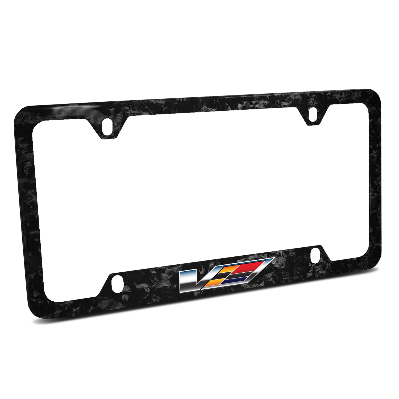 Cadillac V Logo Real Black Forged Carbon Fiber 50 States License Plate Frame