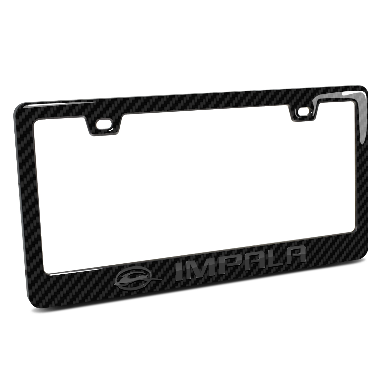Chevrolet Impala Logo in 3D Black on Black Real 3K Carbon Fiber Finish ABS Plastic License Plate Frame