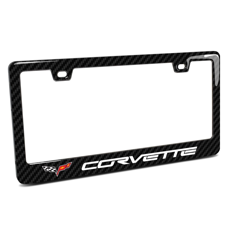 Chevrolet Corvette C6 in 3D on Real 3K Carbon Fiber Finish ABS Plastic License Plate Frame