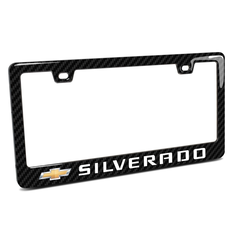 Chevrolet Silverado in 3D on Real 3K Carbon Fiber Finish ABS Plastic License Plate Frame