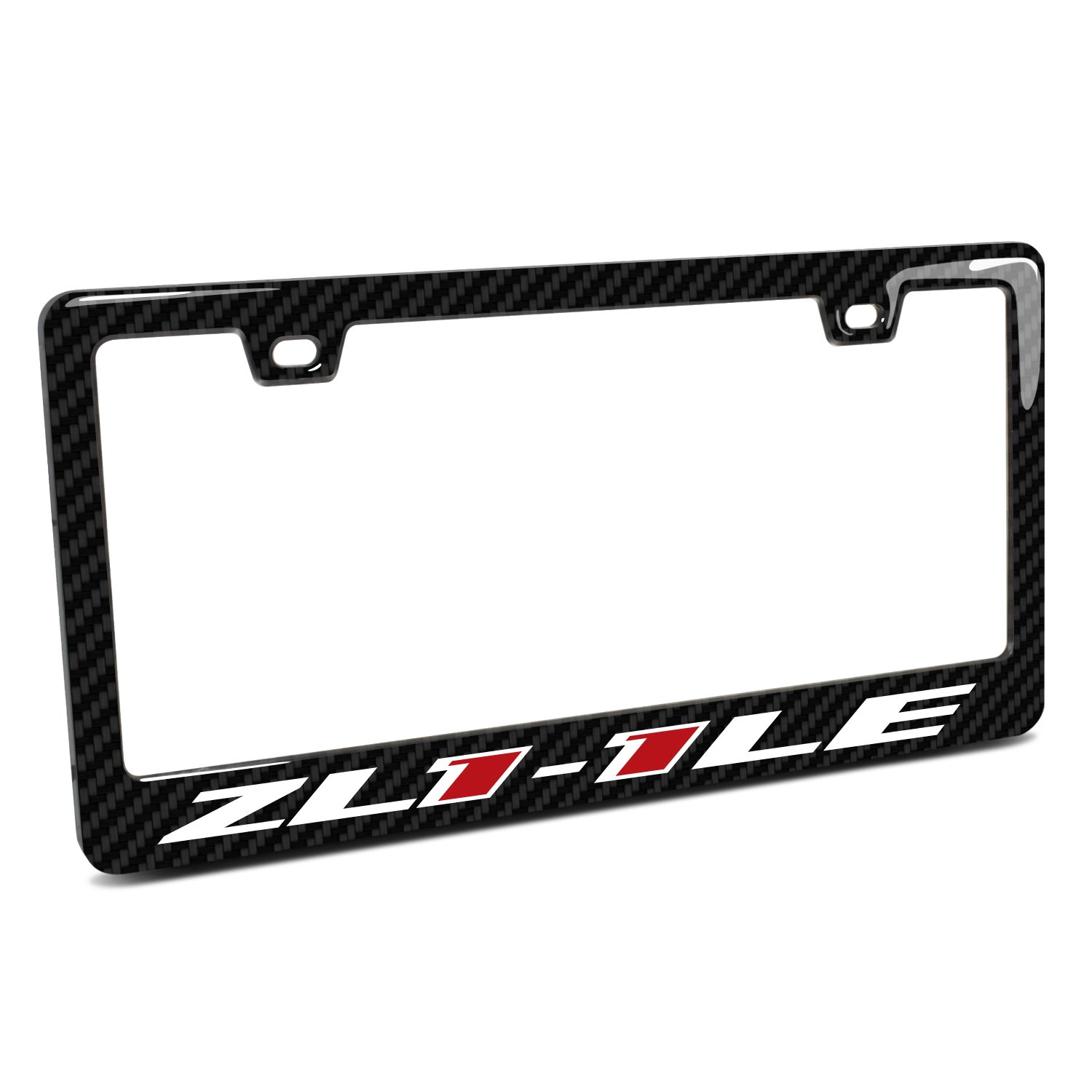 Chevrolet Camaro ZL1-1LE Logo in 3D on Real 3K Carbon Fiber Finish ABS Plastic License Plate Frame