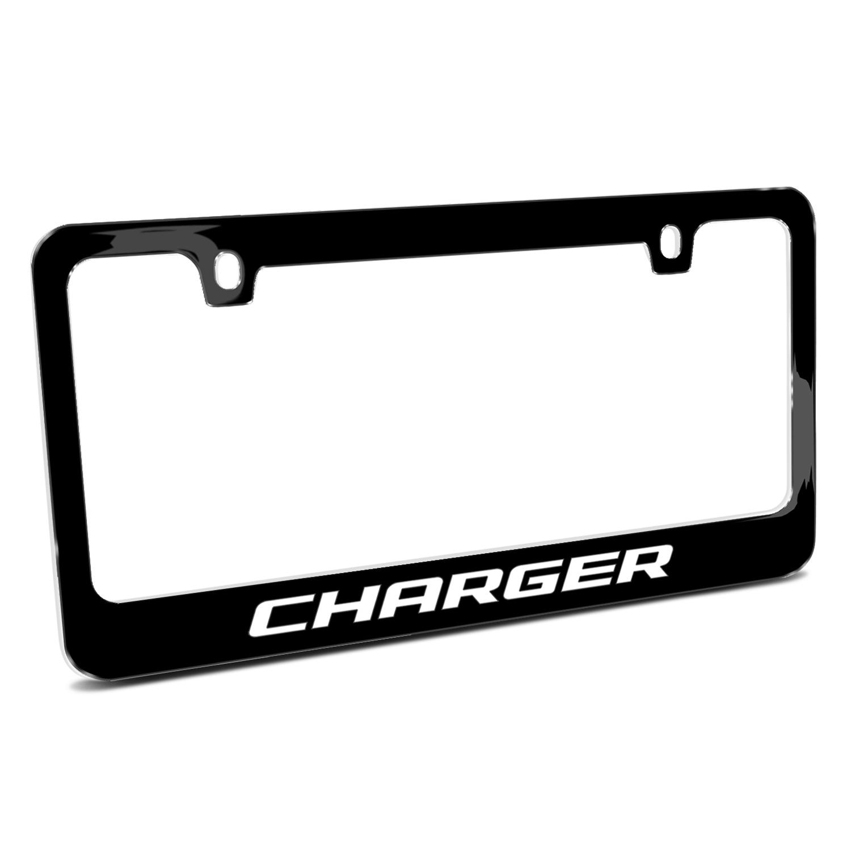 Dodge Charger Black Metal License Plate Frame