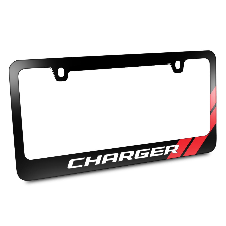 Dodge Charger Red Stripe Black Metal License Plate Frame