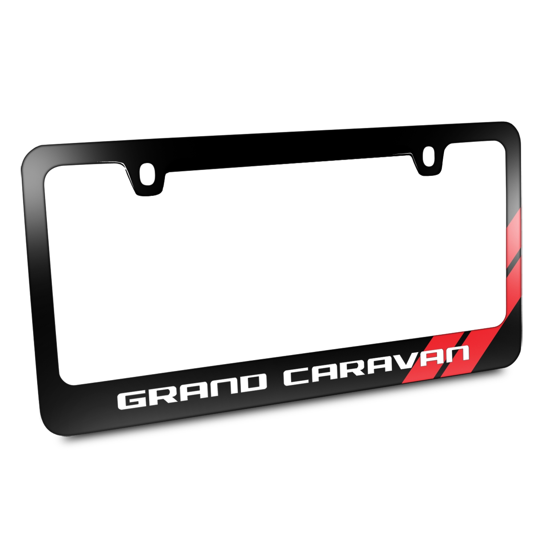 Dodge Grand Caravan Red Stripe Black Metal License Plate Frame