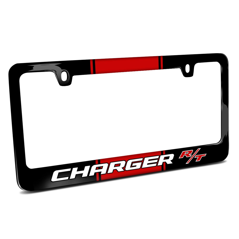 Dodge Charger R/T Racing Stripe Black Metal License Plate Frame