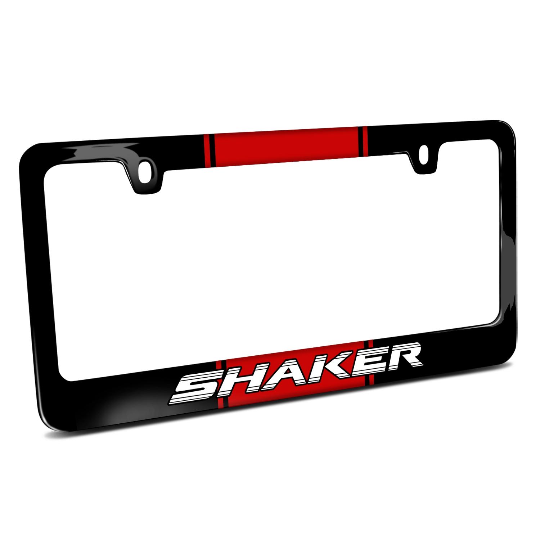 Dodge Challenger Shaker Racing Stripe Black Metal License Plate Frame