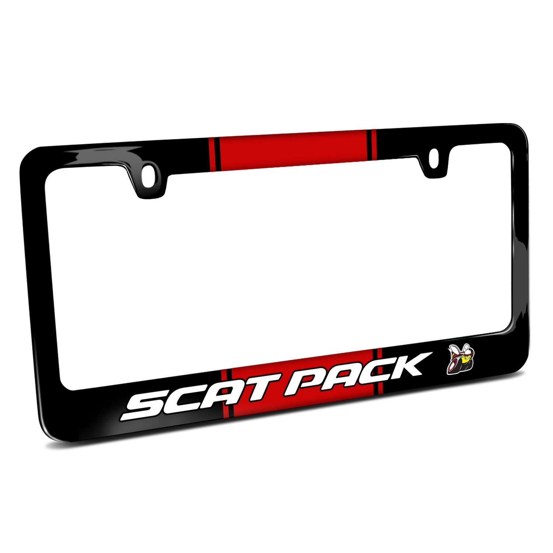 Dodge Scat-Pack Racing Stripe Black Metal License Plate Frame