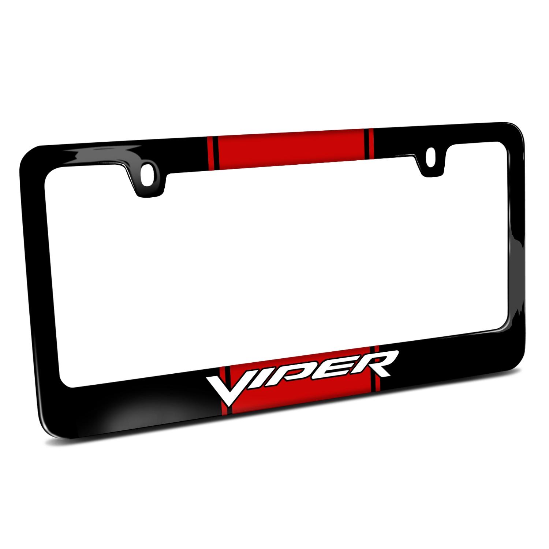 Dodge Viper Racing Stripe Black Metal License Plate Frame