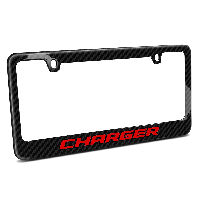 Dodge Charger in Red Black Real Carbon Fiber License Plate Frame