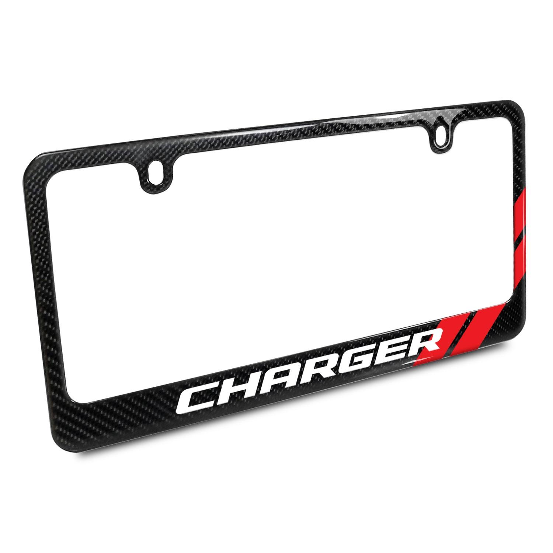 Dodge Charger Red Stripe Real Black Carbon Fiber License Plate Frame