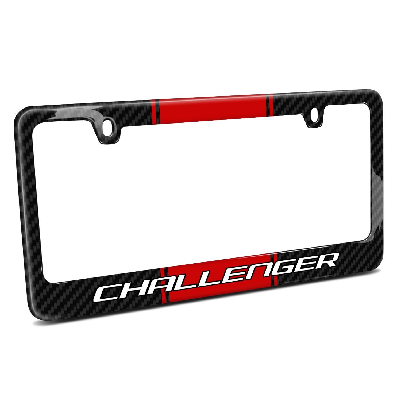 Dodge Challenger Red Racing Stripe Black Real Carbon Fiber License Plate Frame