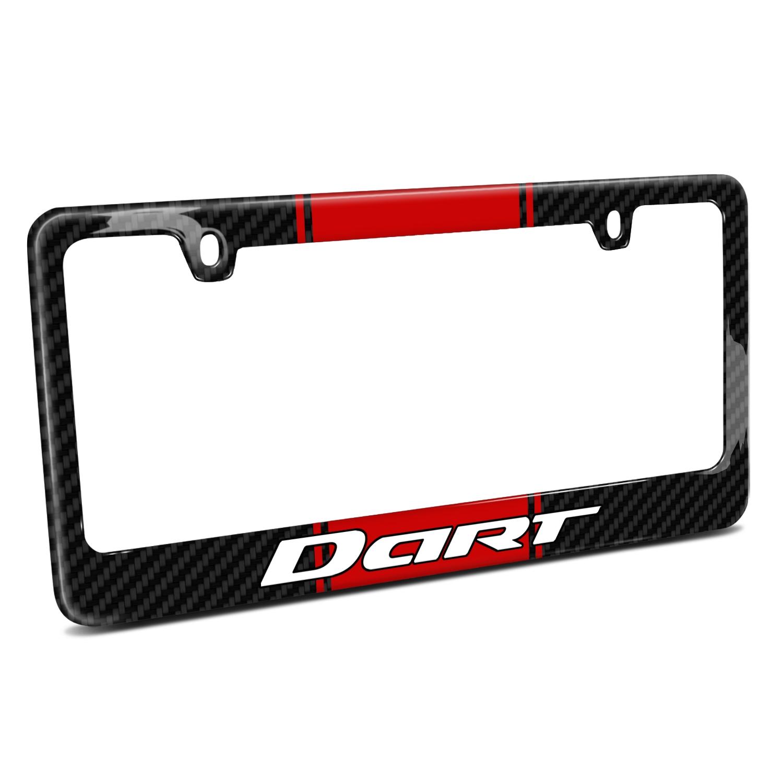 Dodge Dart Red Racing Stripe Black Real Carbon Fiber License Plate Frame