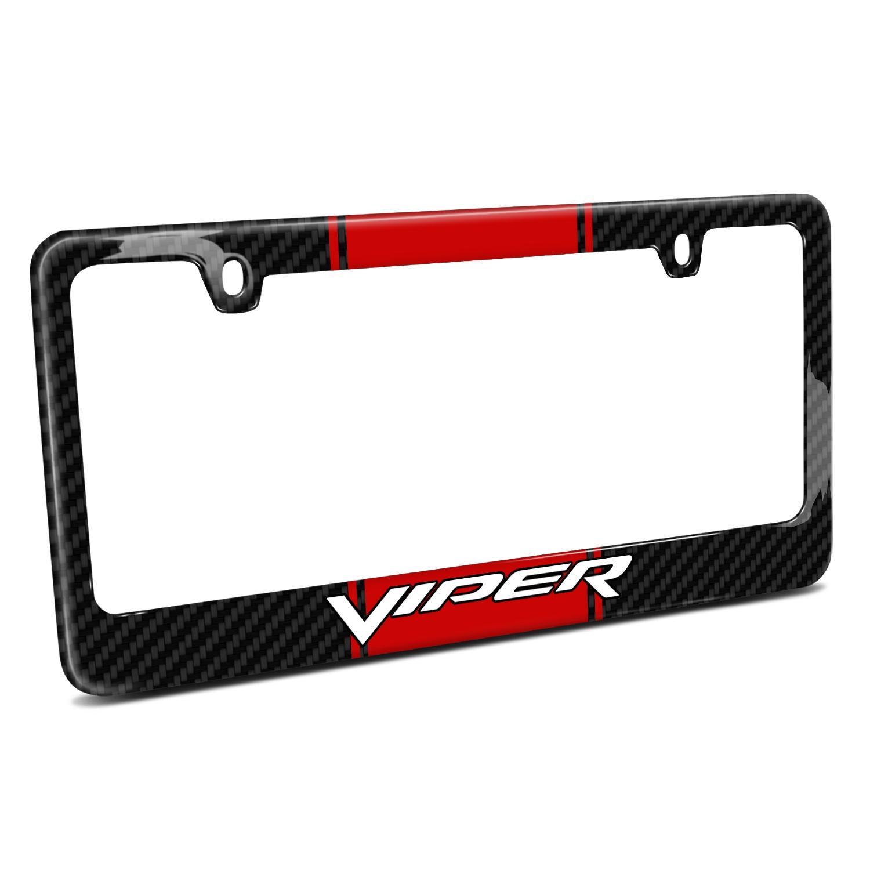 Dodge Viper Red Racing Stripe Black Real Carbon Fiber License Plate Frame