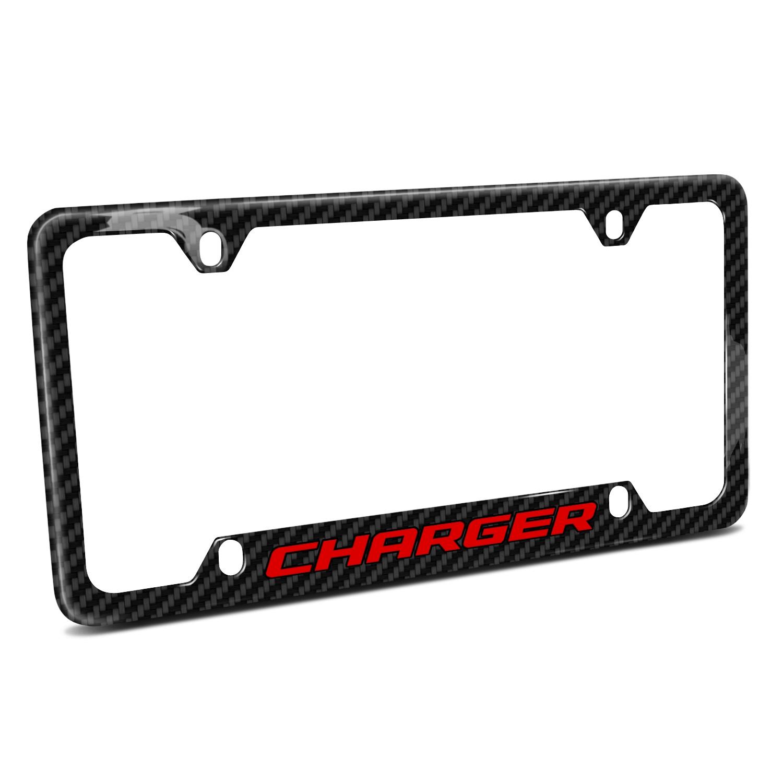 Dodge Charger in Red Black Real Carbon Fiber 50 States License Plate Frame