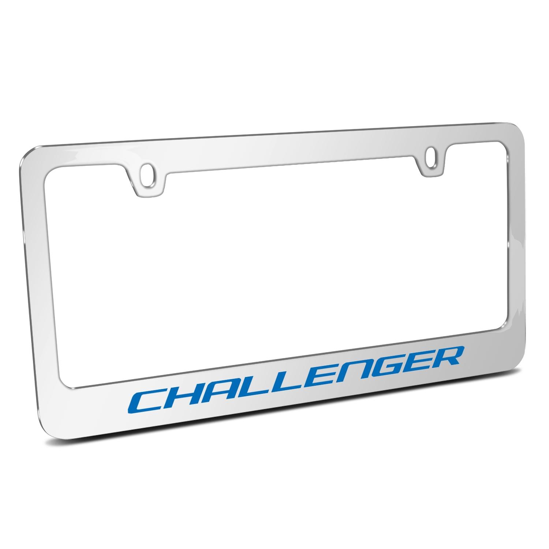 Dodge Challenger in Blue Mirror Chrome Metal License Plate Frame