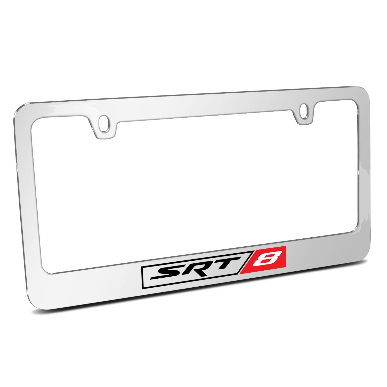 SRT-8 Logo Mirror Chrome Metal License Plate Frame