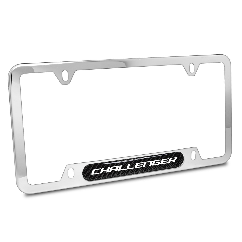 Dodge Challenger Real Carbon Fiber Nameplate Chrome Stainless Steel License Plate Frame