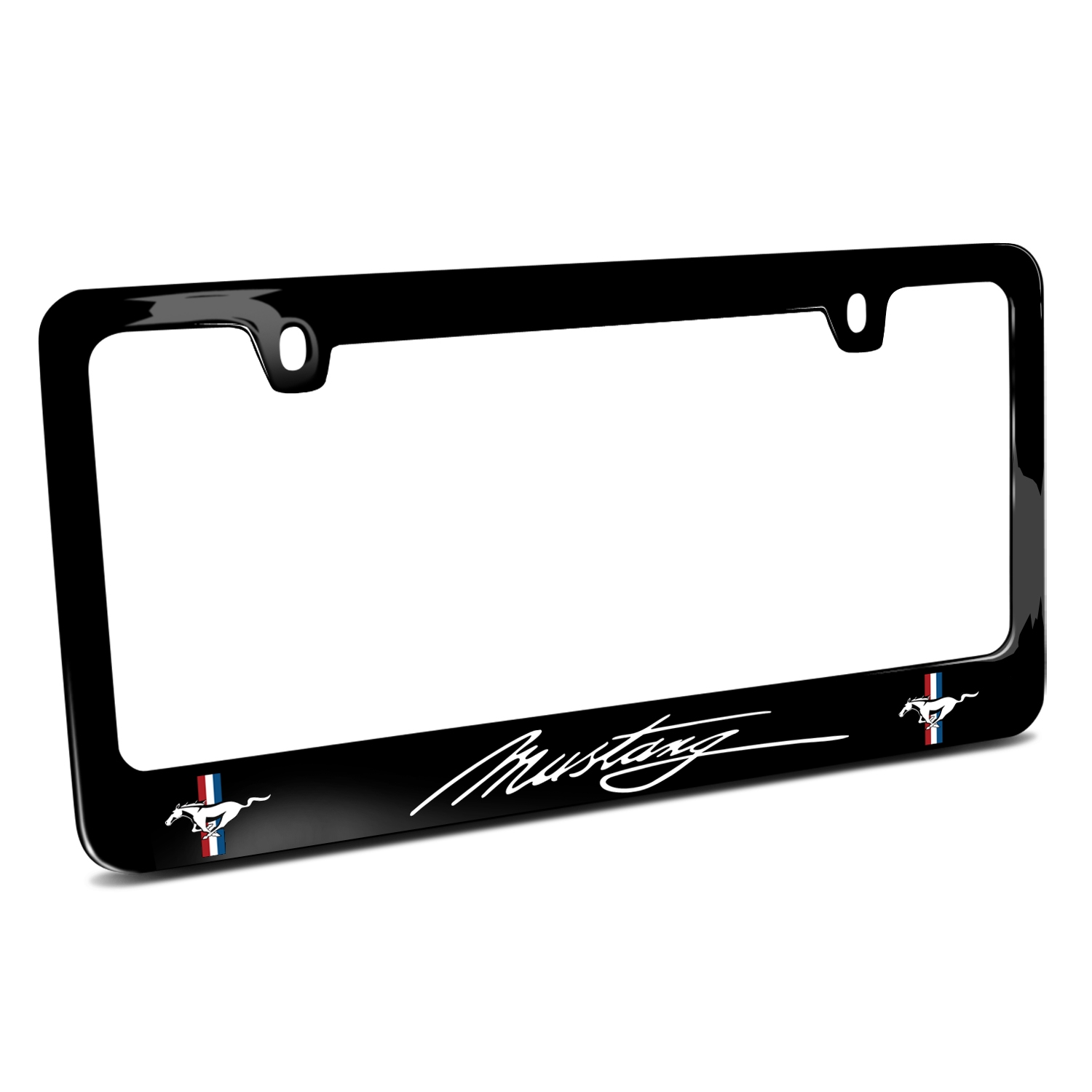 Ford Mustang Script Dual Logos Black Metal License Plate Frame