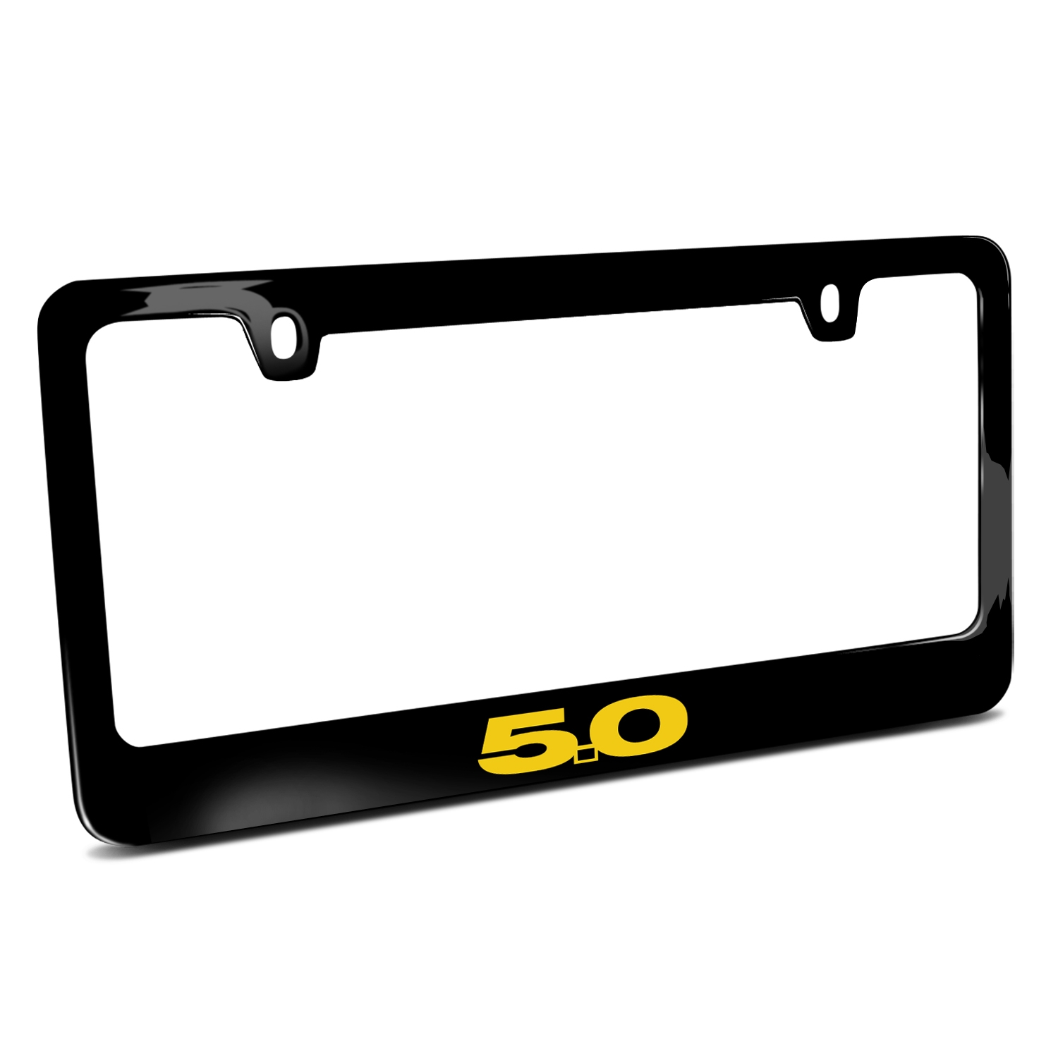 Ford Mustang 5.0 in Yellow Black Metal License Plate Frame