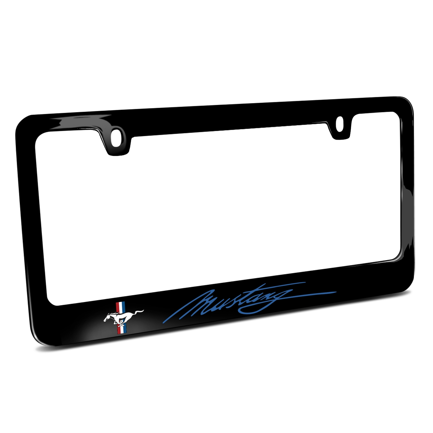 Ford Mustang Script in Blue Black Metal License Plate Frame