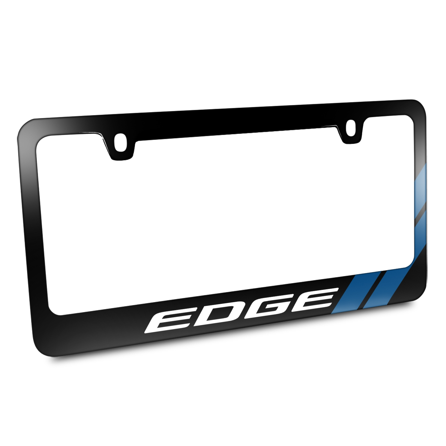 Ford Edge Blue Sports Stripe Black Metal License Plate Frame