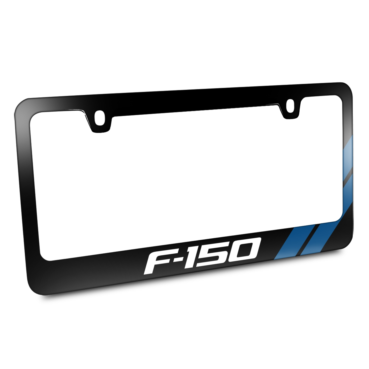 Ford F-150 Blue Sports Stripe Black Metal License Plate Frame