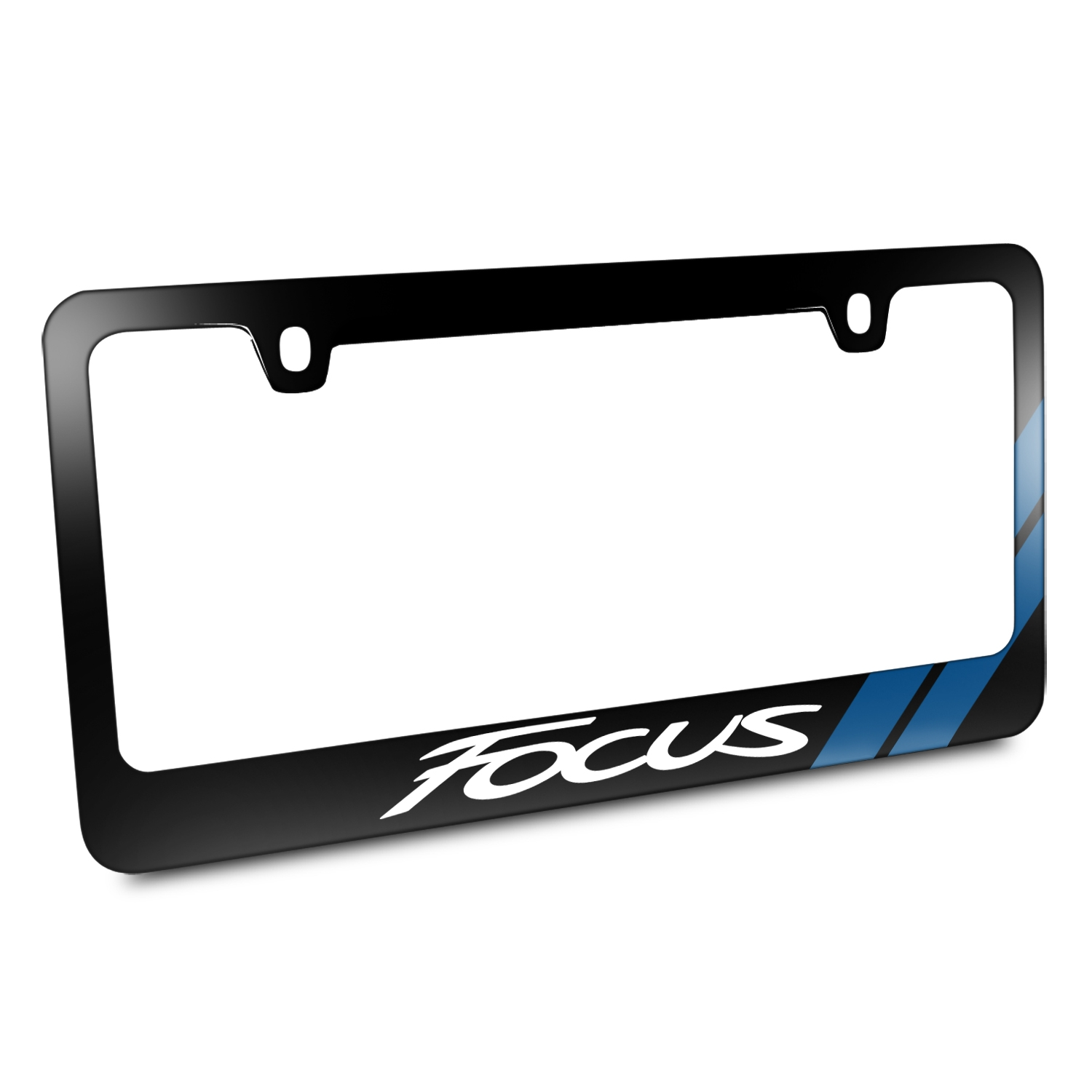 Ford Focus Blue Sports Stripe Black Metal License Plate Frame