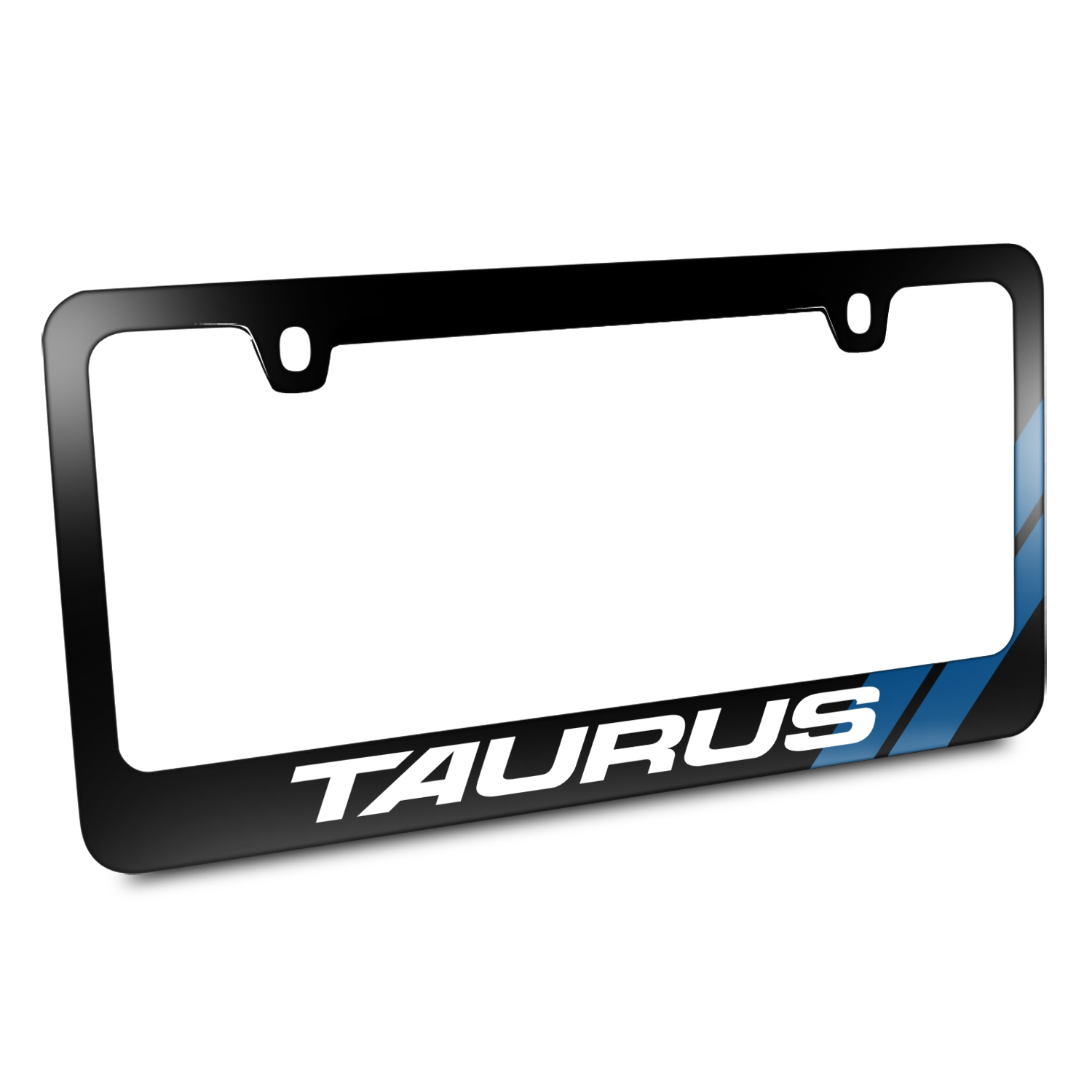 Ford Taurus Blue Sports Stripe Black Metal License Plate Frame
