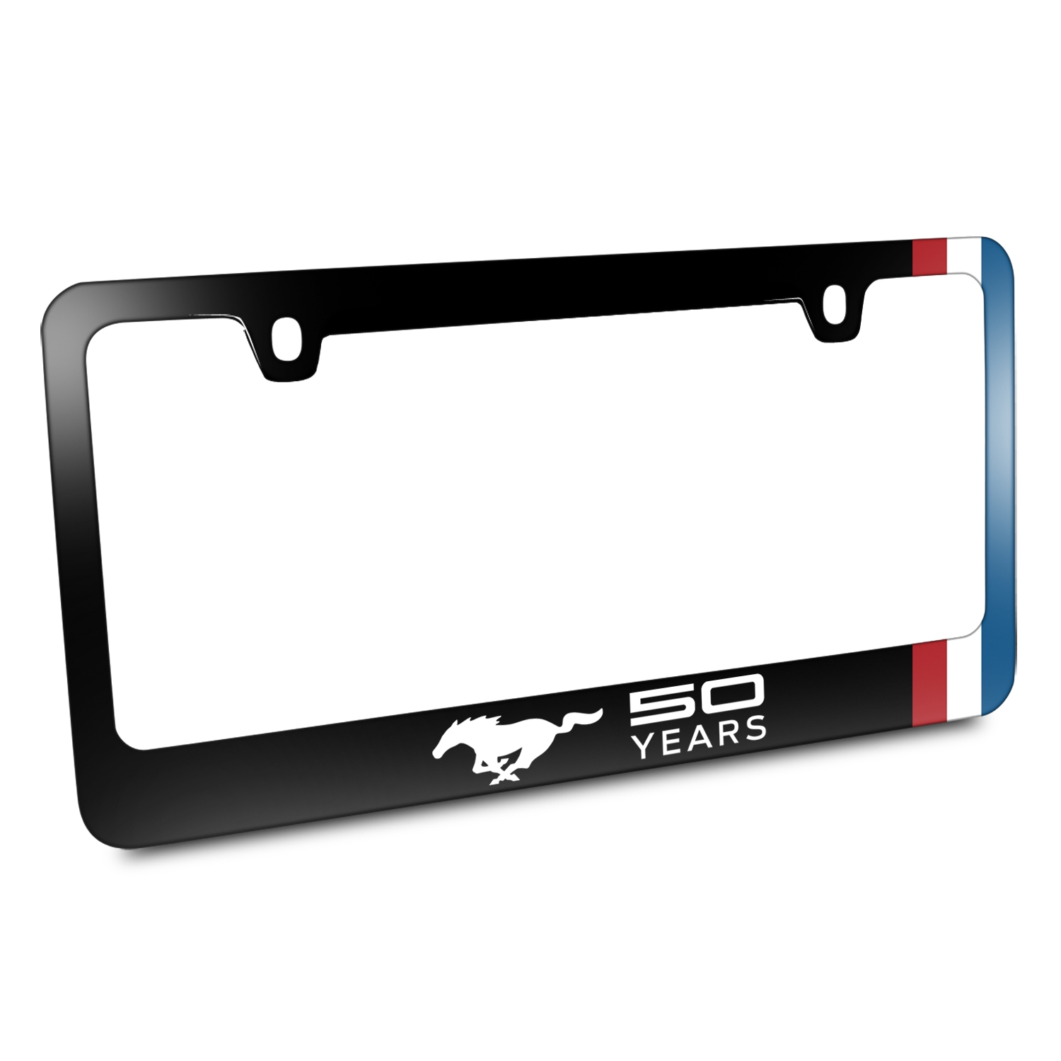 Ford Mustang 50 Years Side Red White Blue Stripe Black Metal License Plate Frame
