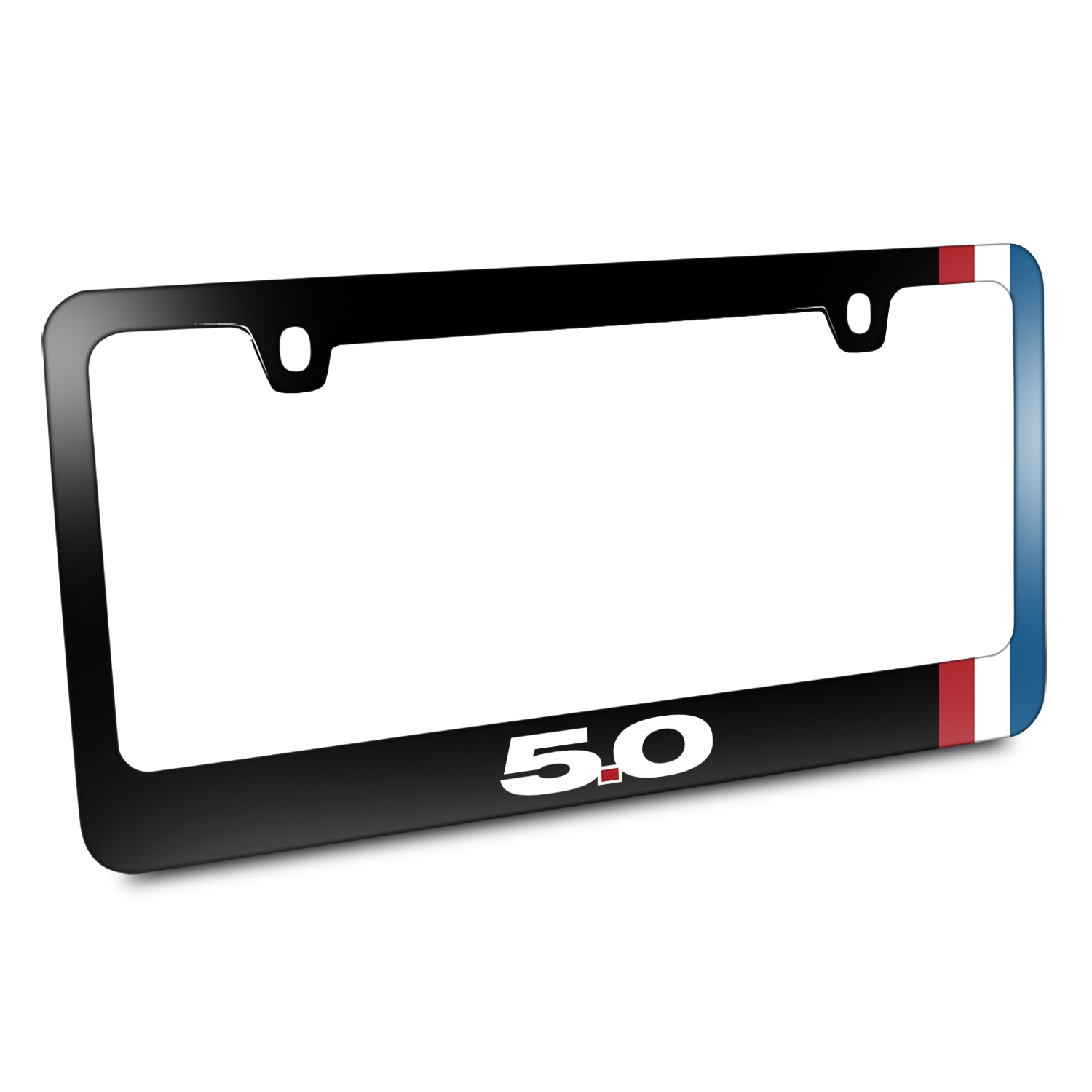 Ford Mustang GT 5.0 Side Red White Blue Stripe Black Metal License Plate Frame