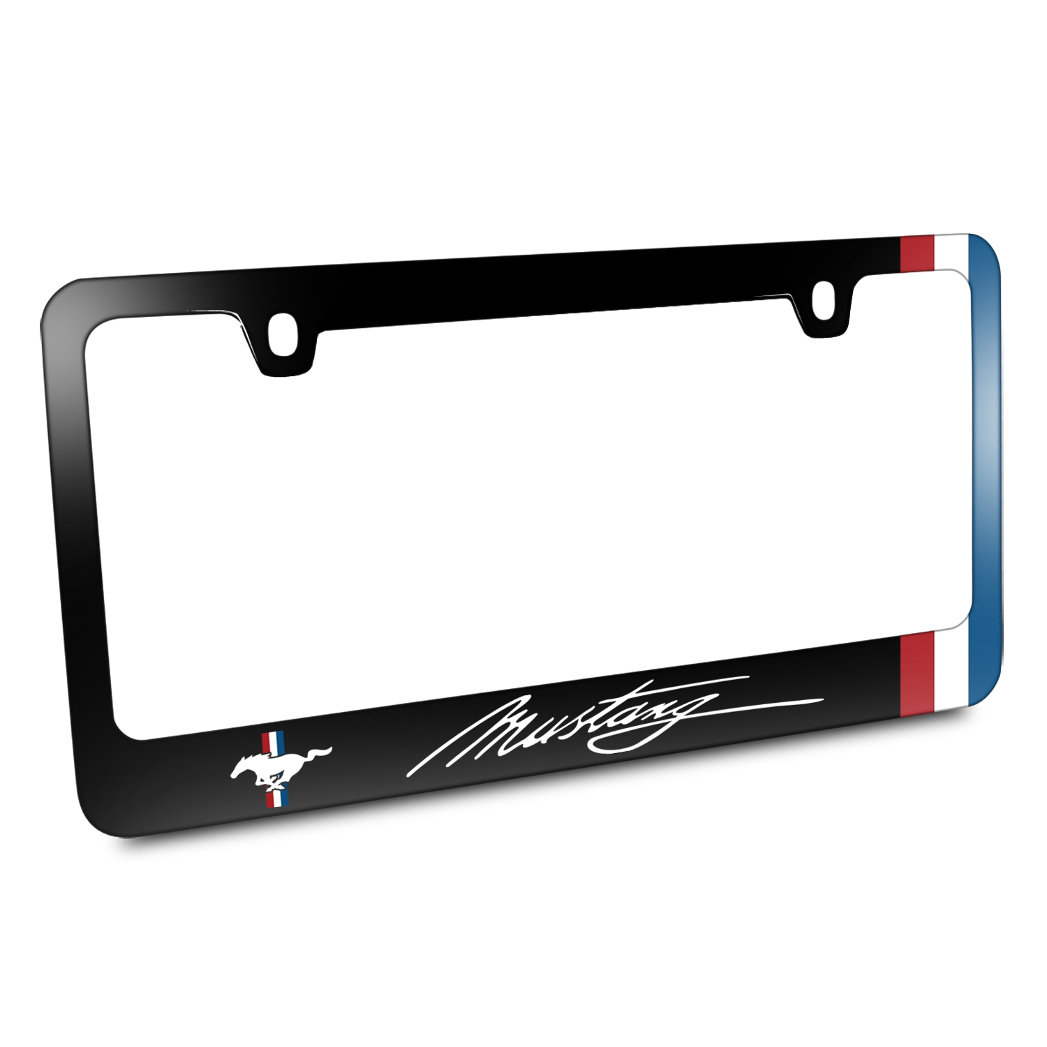 Ford Mustang Script Side Red White Blue Stripe Black Metal License Plate Frame