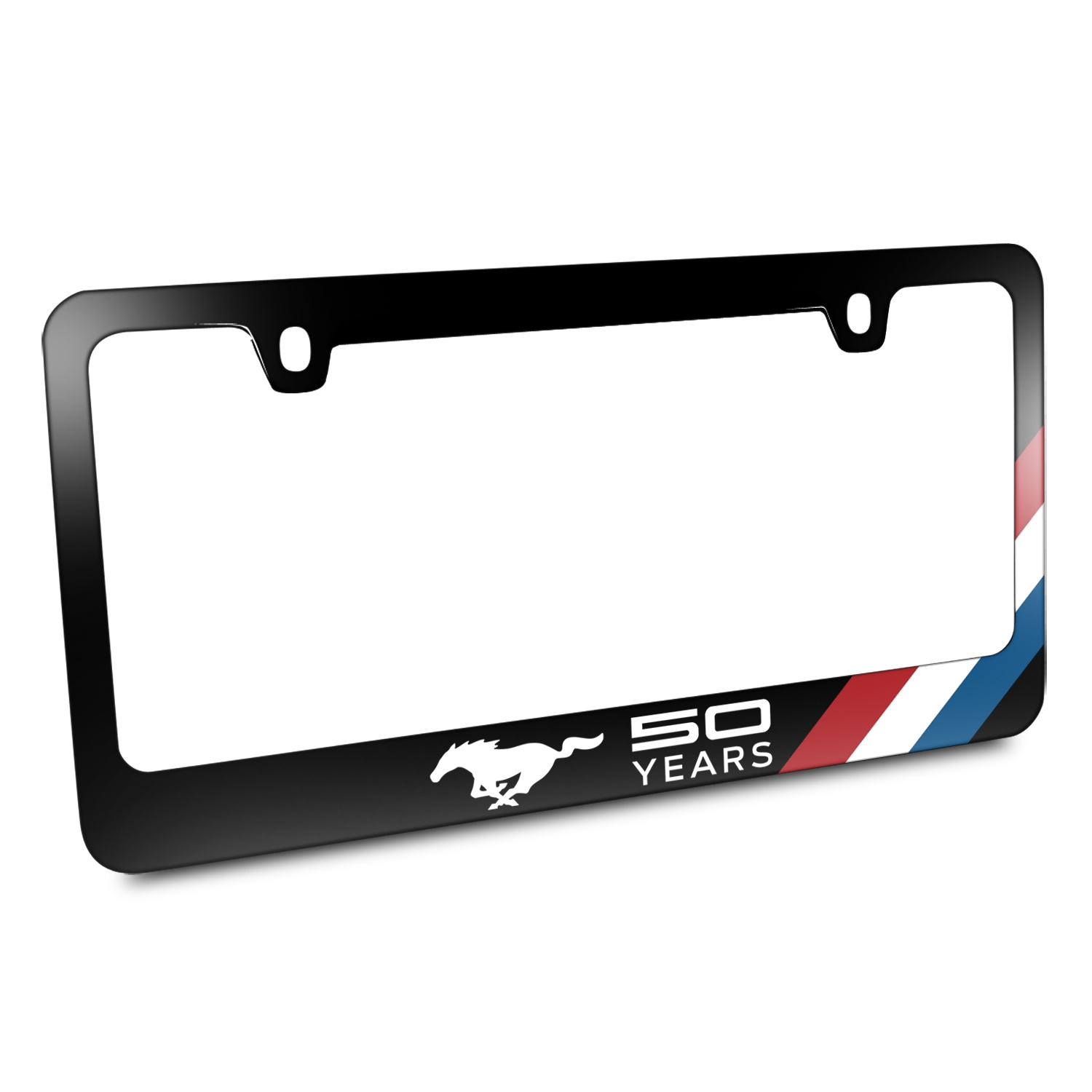 Ford Mustang 50 Years Tri-Bar Sports Stripe Black Metal License Plate Frame