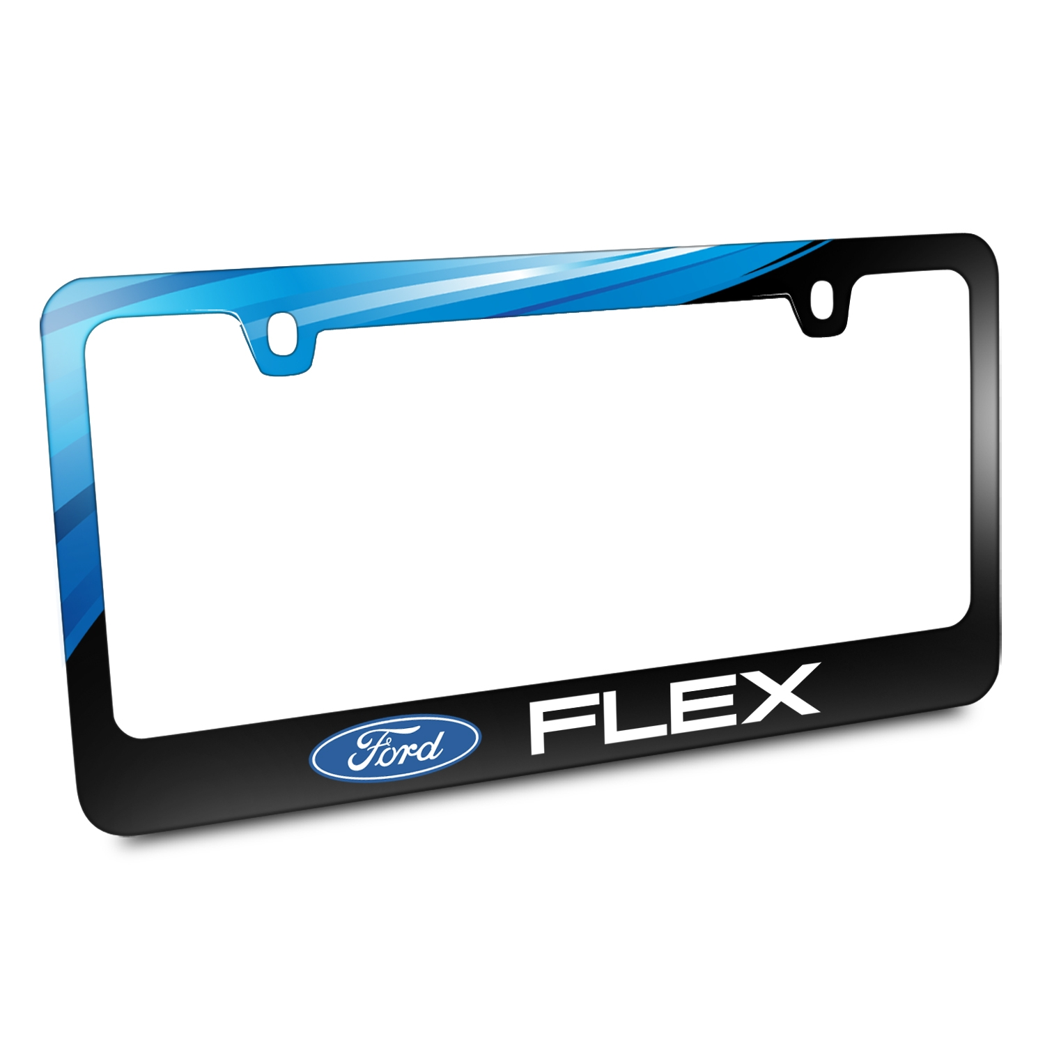 Ford Logo Flex Black Metal Graphic License Plate Frame