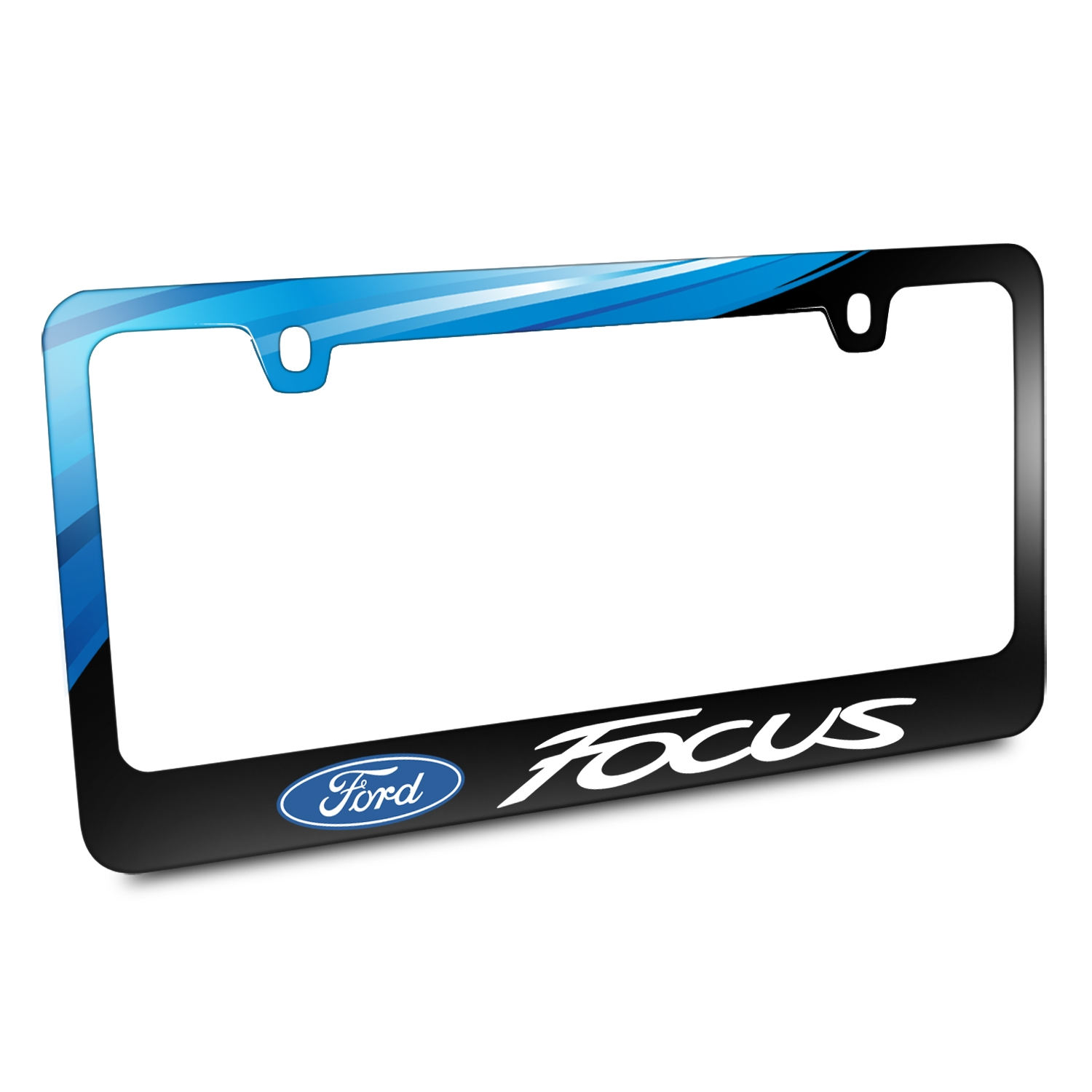 Ford Logo Focus Black Metal Graphic License Plate Frame