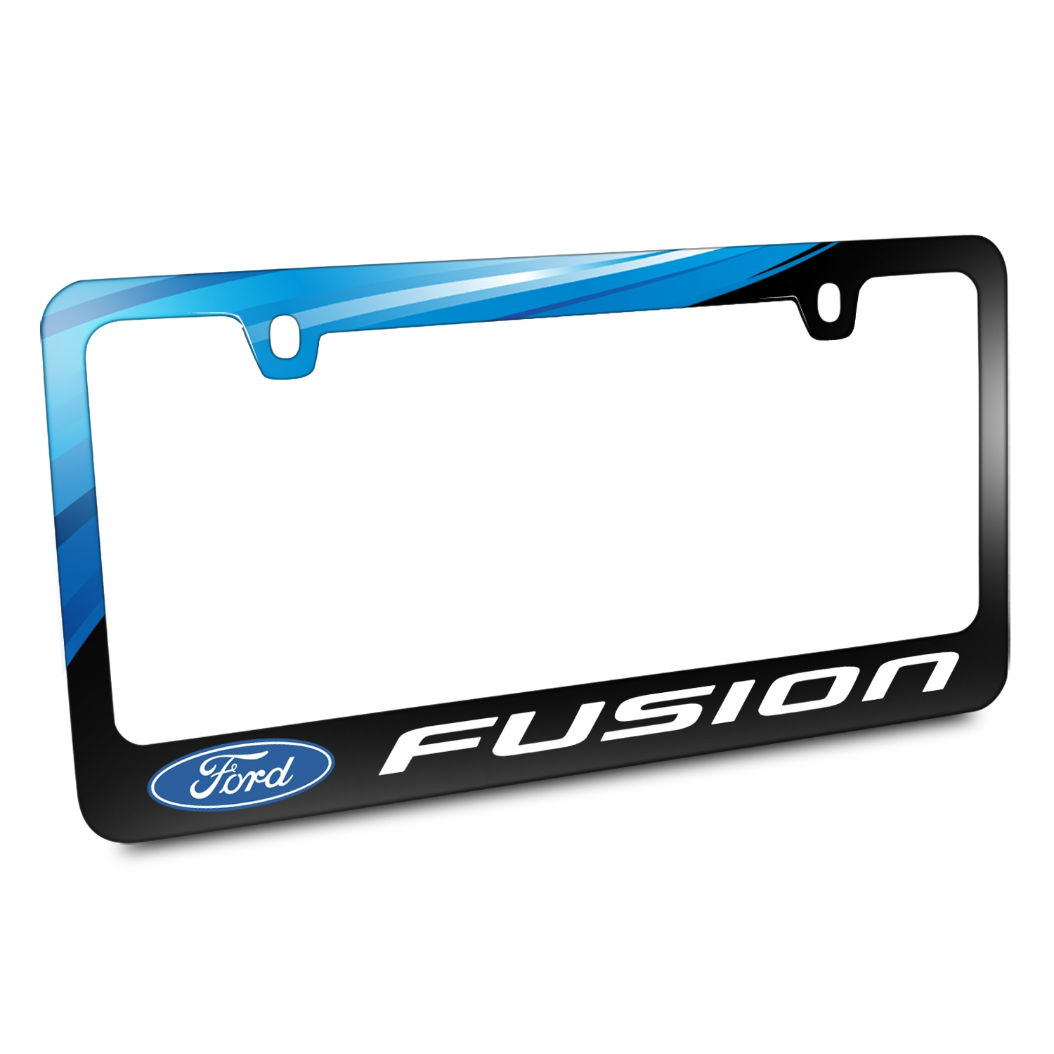 Ford Logo Fusion Black Metal Graphic License Plate Frame