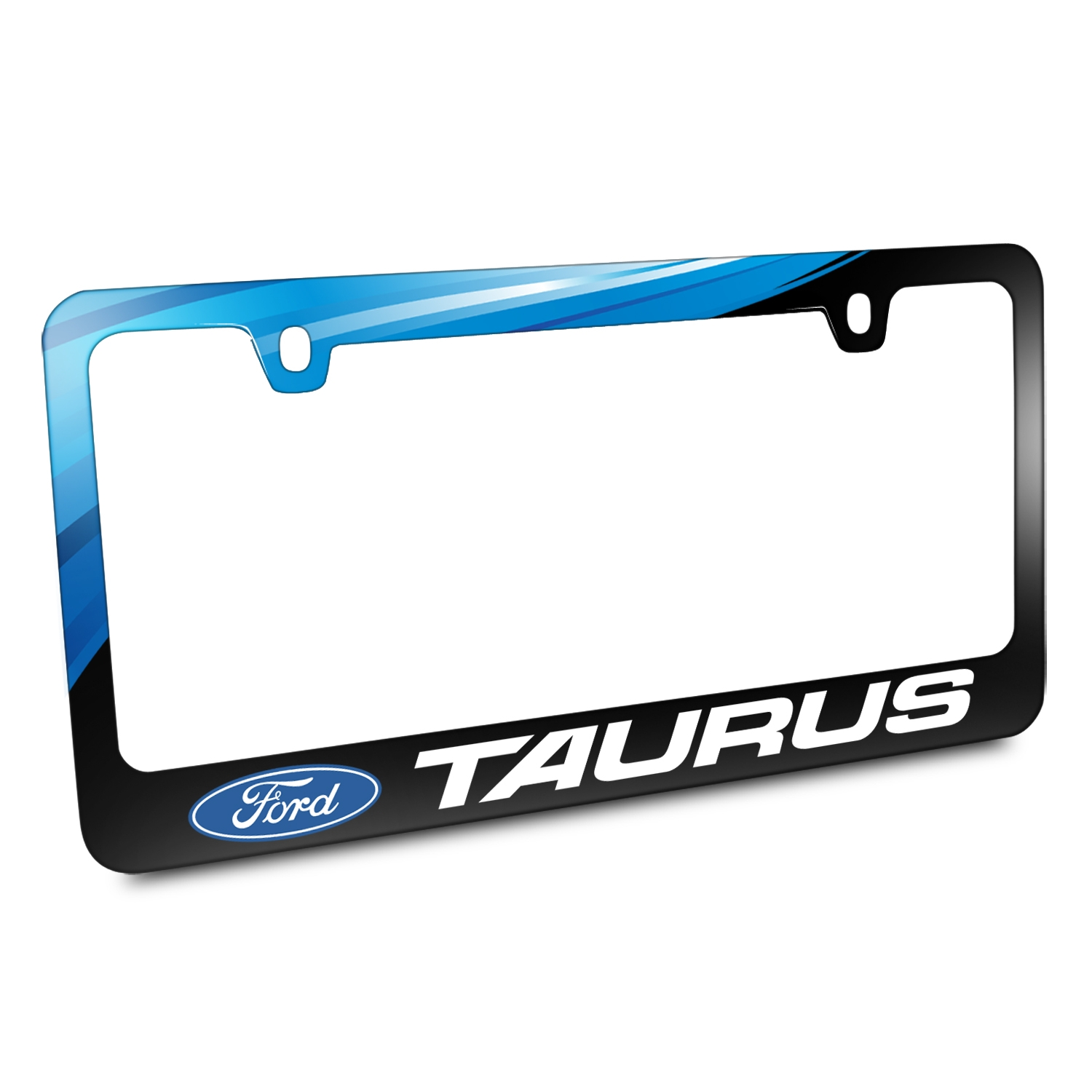 Ford Logo Taurus Black Metal Graphic License Plate Frame