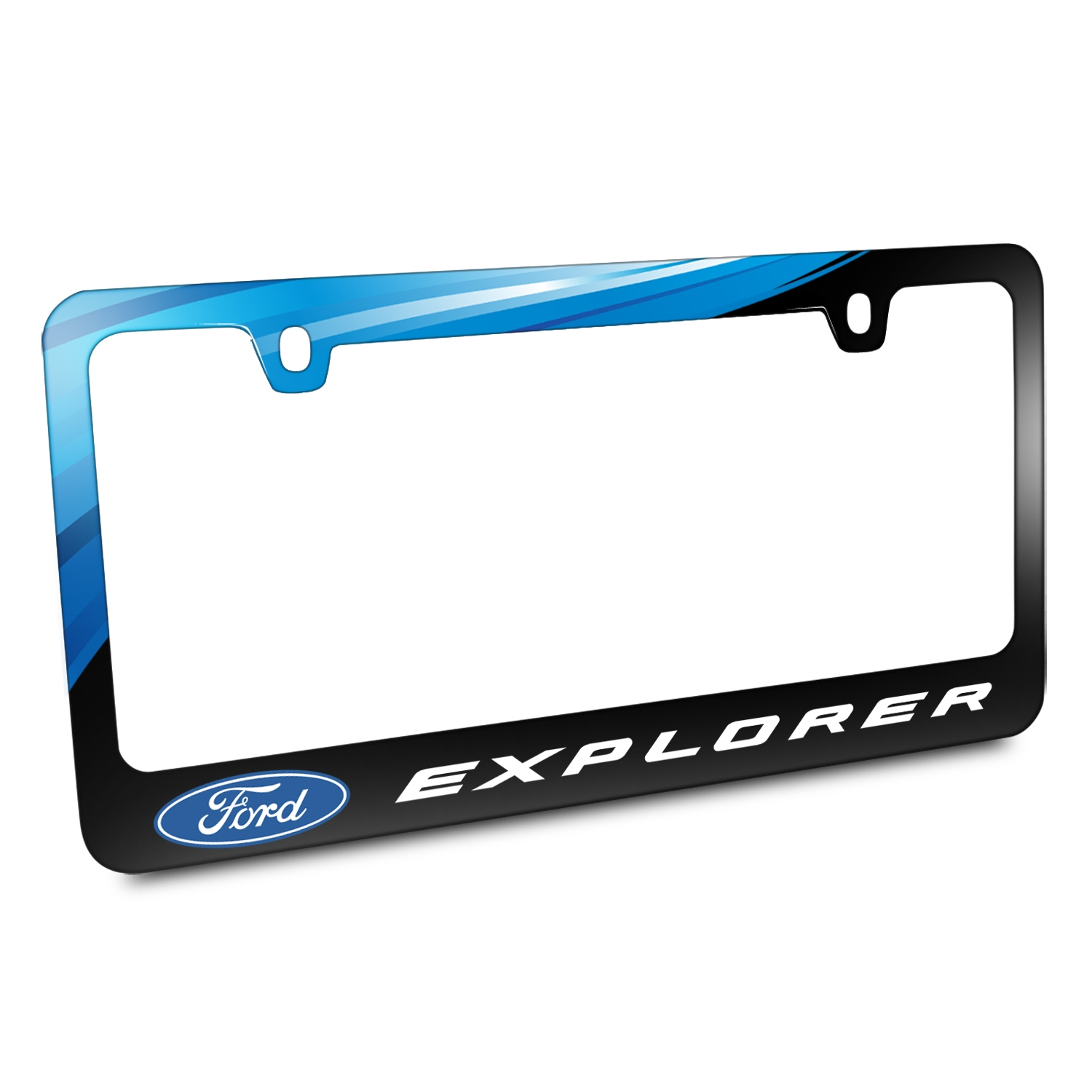 Ford Logo Explorer Black Metal Graphic License Plate Frame