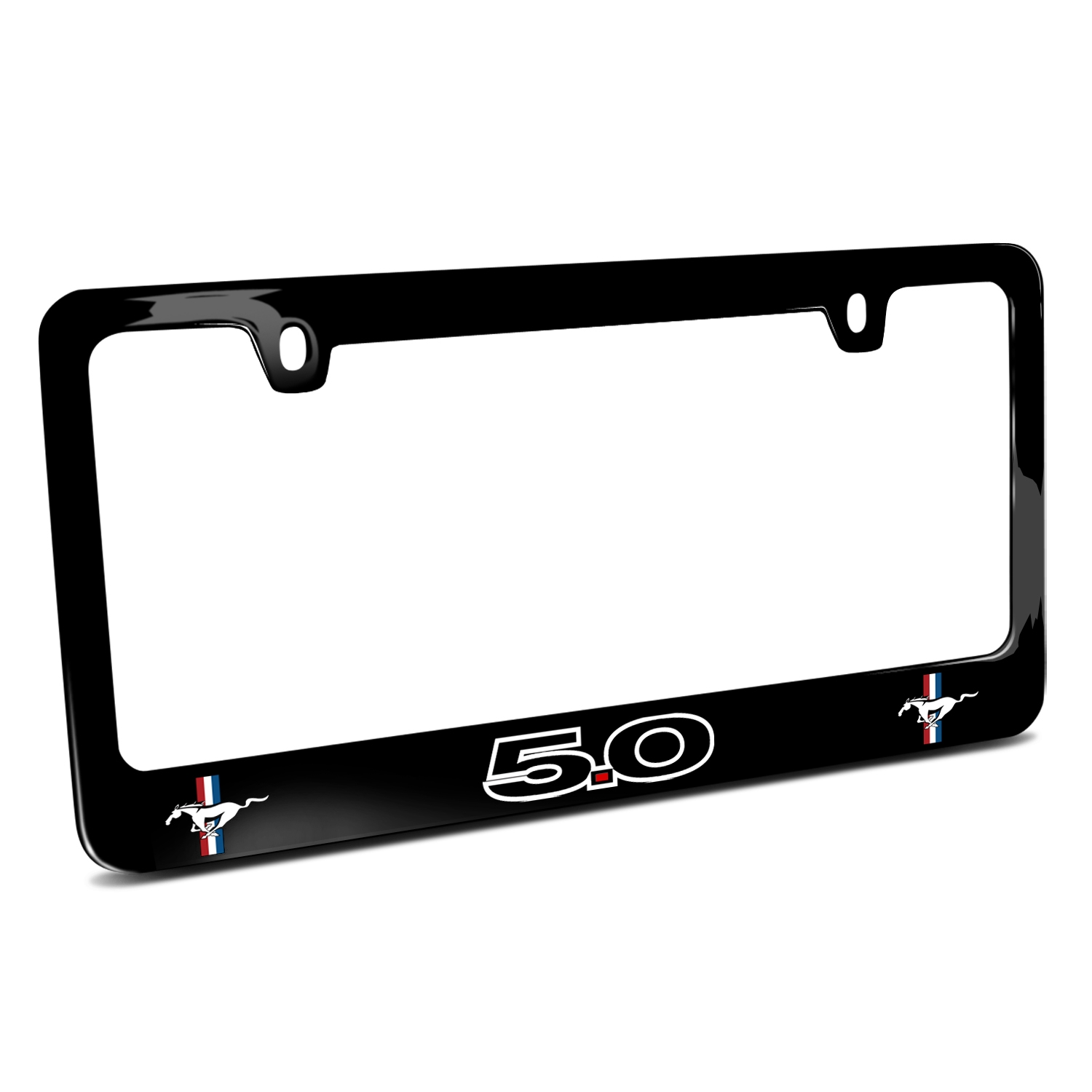 Ford Mustang GT 5.0 Outline Dual Logos Black Metal License Plate Frame