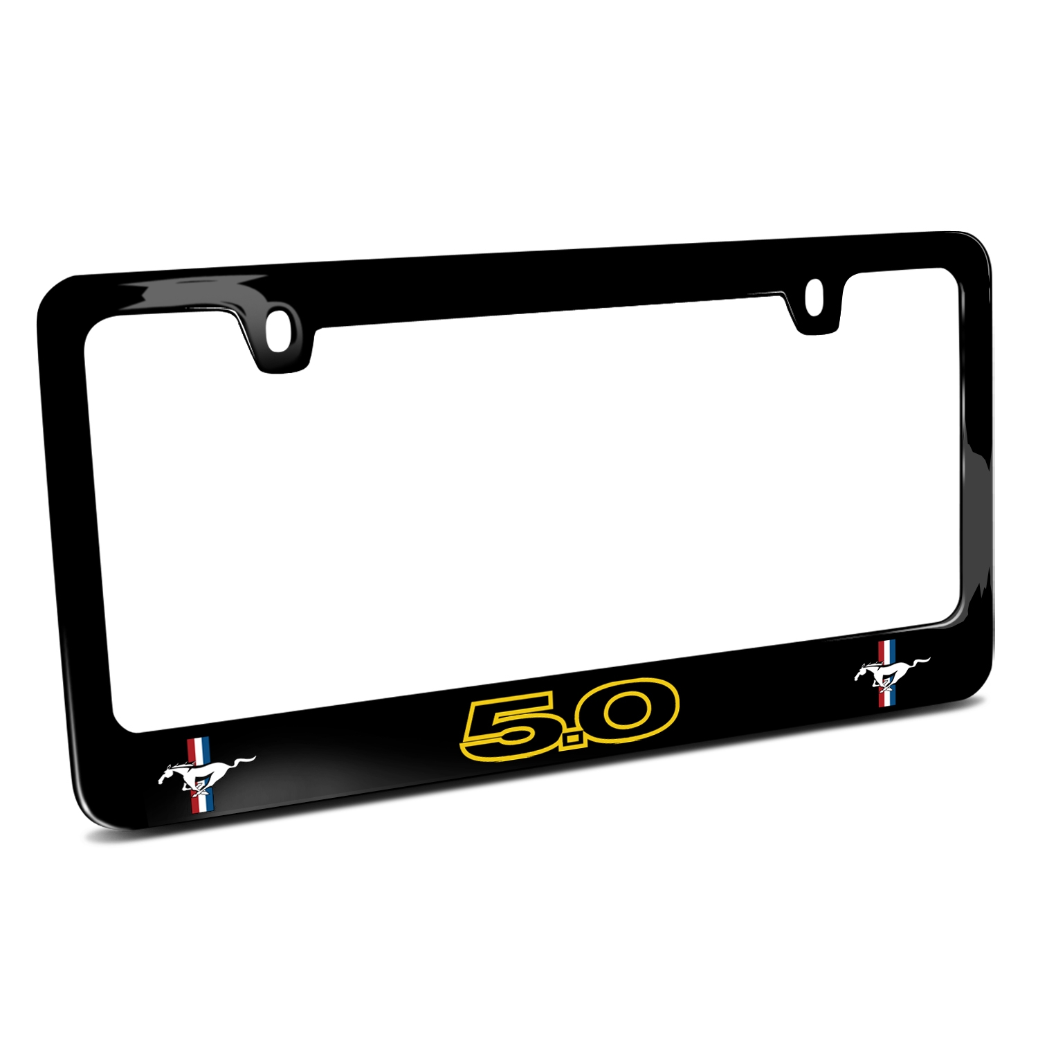 Ford Mustang GT 5.0 Outline in Yellow Dual Logos Black Metal License Plate Frame