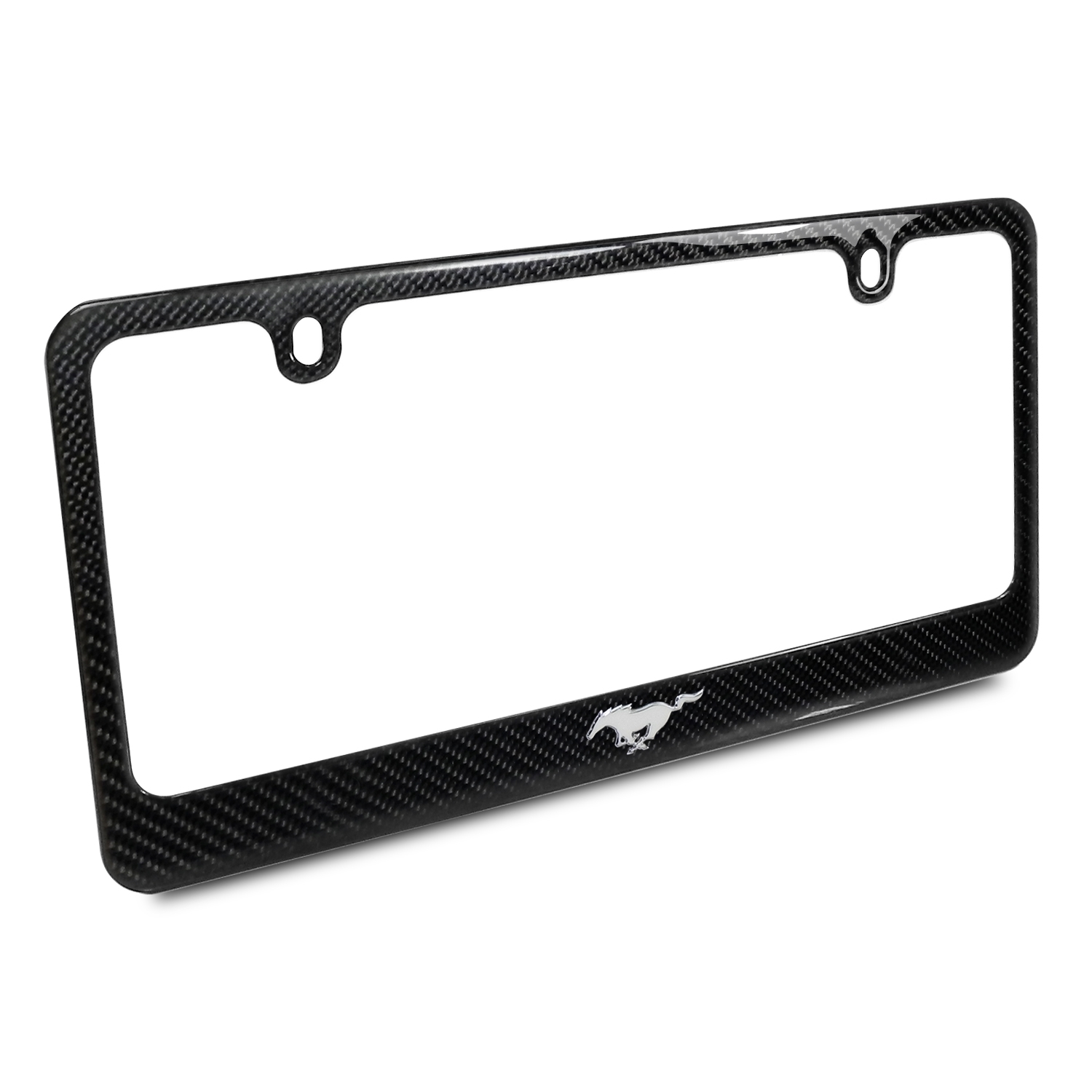 Ford Mustang Pony 3d Chrome Emblem Black Carbon Fiber License Plate Frame