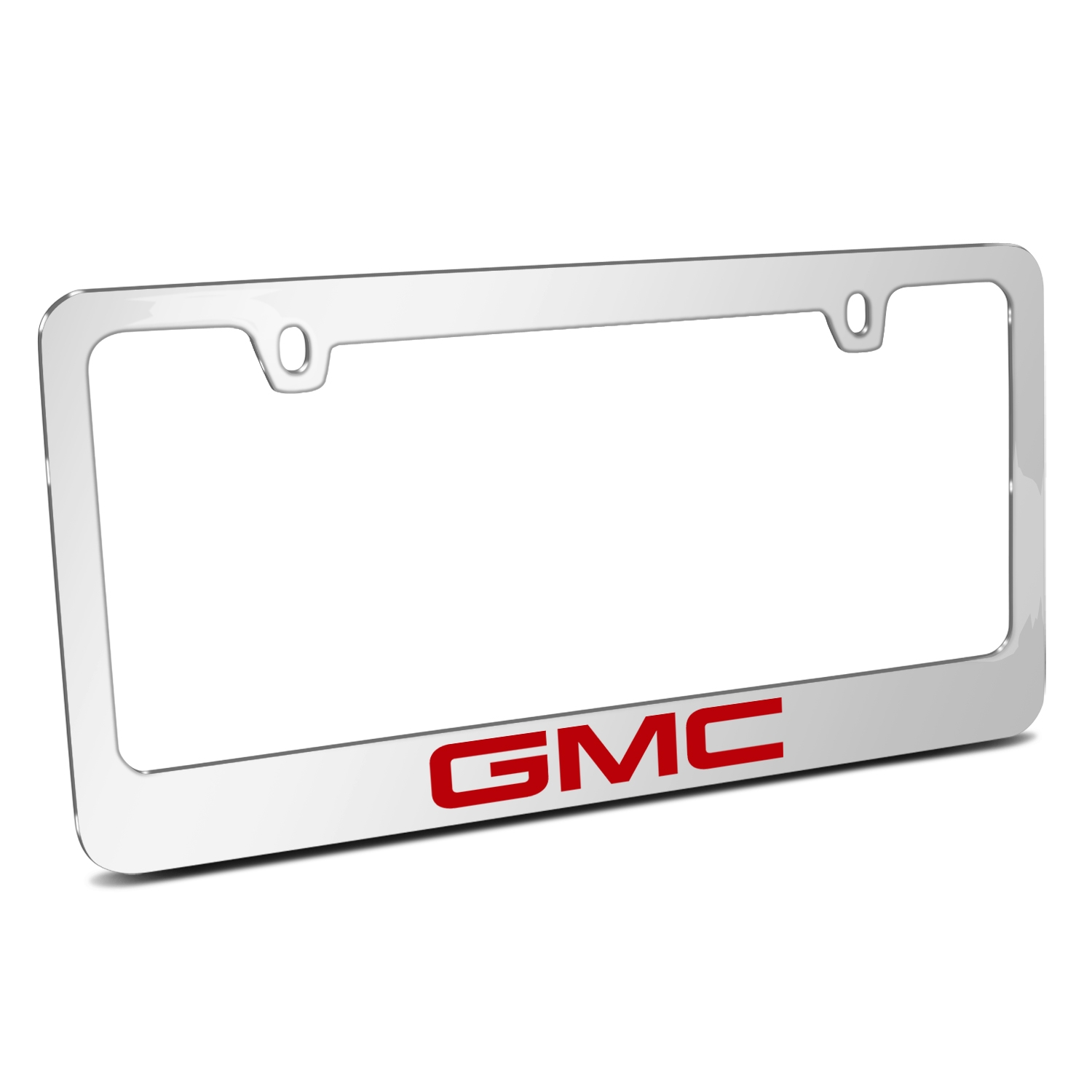 GMC Logo 2017 in Red Mirror Chrome Metal License Plate Frame