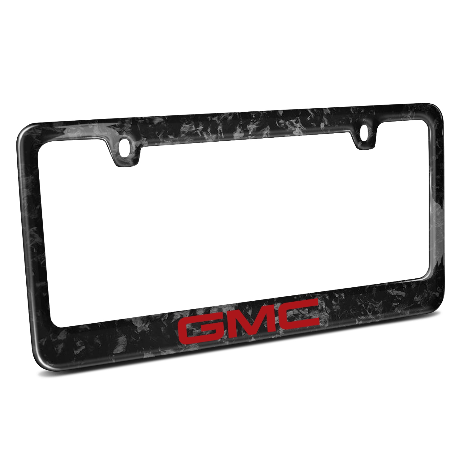 GMC Logo in Red Real Black Forged Carbon Fiber 50 States License Plate Frame