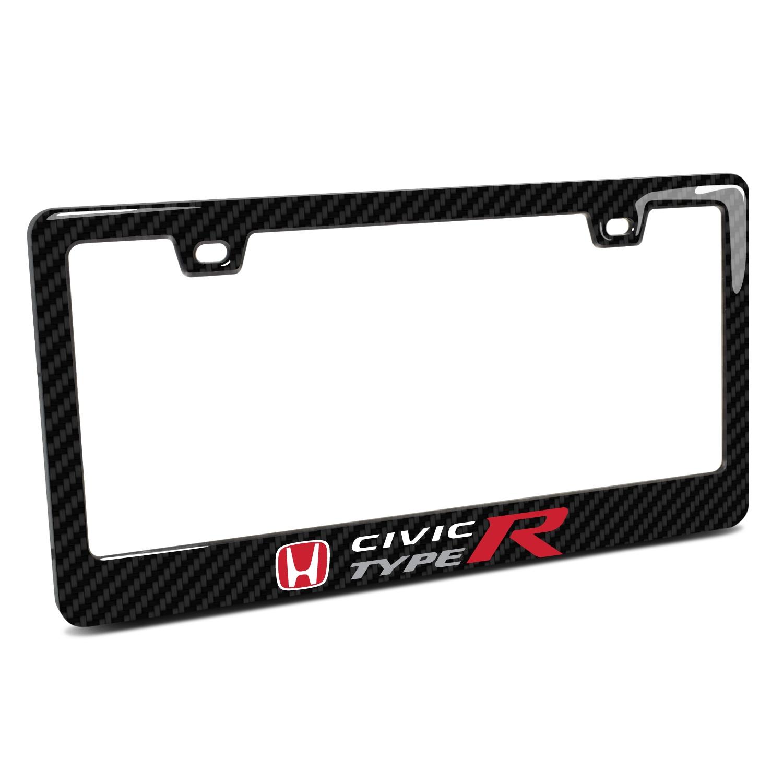 Honda Civic Type-R Black Real 3K Carbon Fiber Finish ABS Plastic License Plate Frame