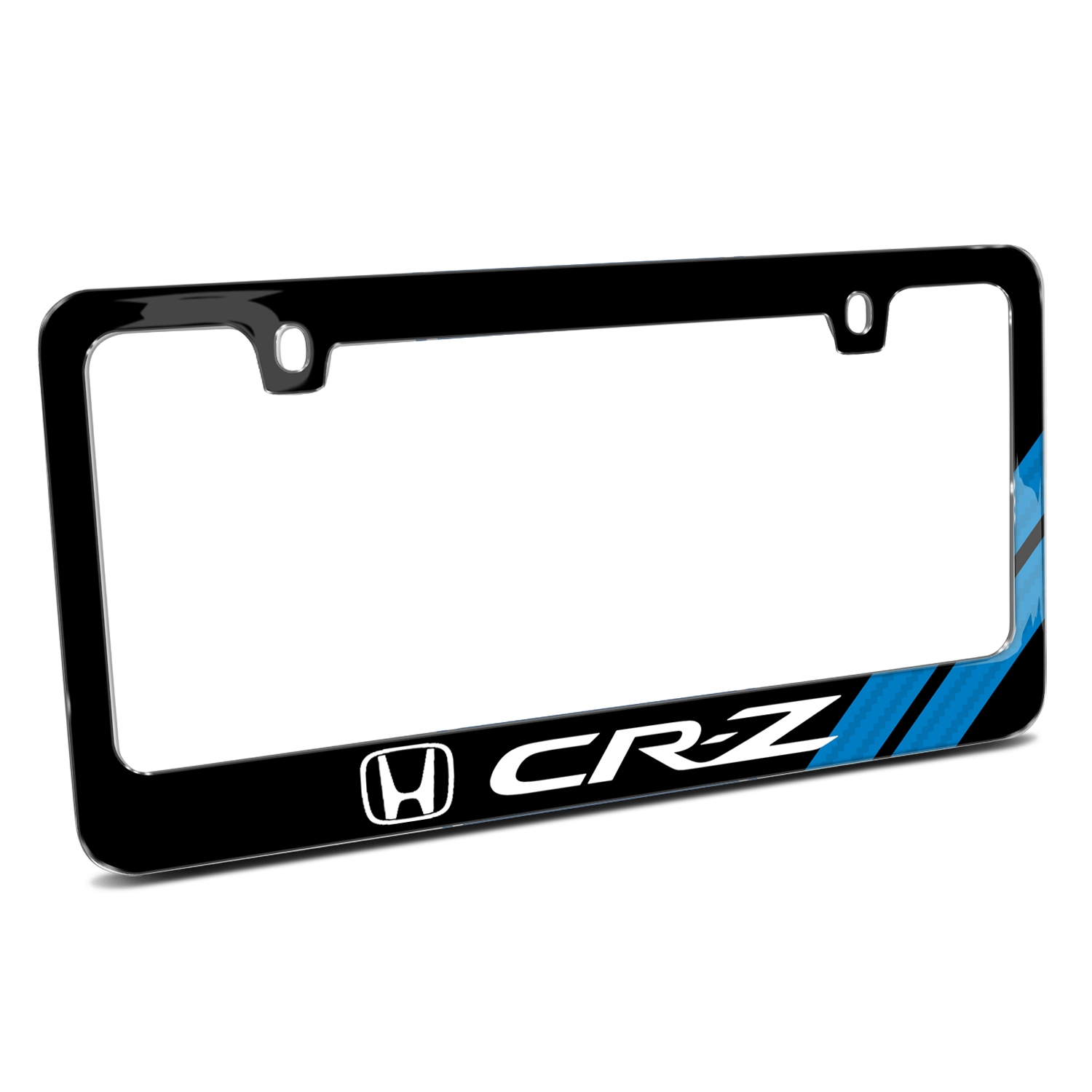 Honda CR-Z Blue Carbon Fiber Texture Stripe Black Metal License Plate Frame
