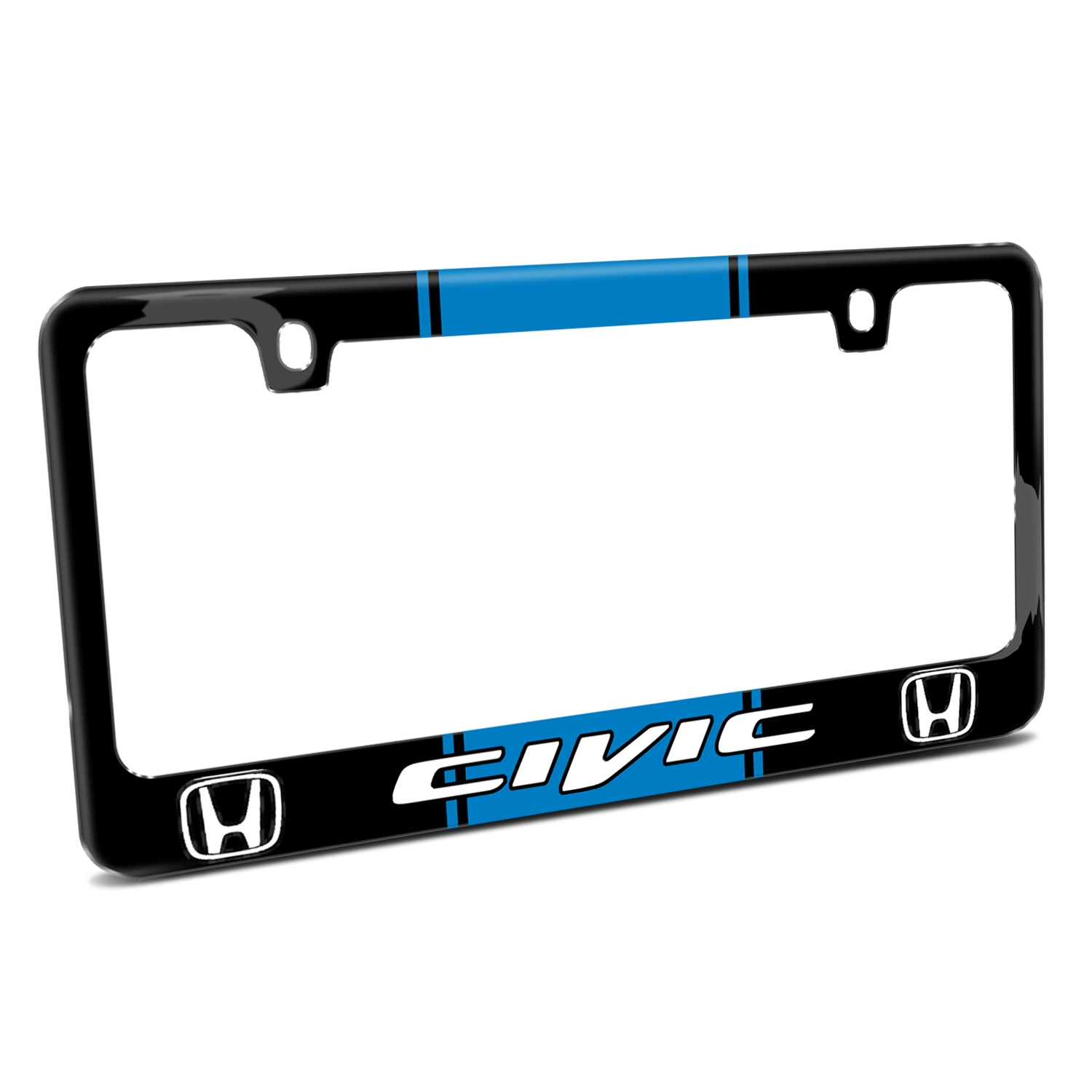 Honda Civic Blue Racing Stripe Black Metal License Plate Frame