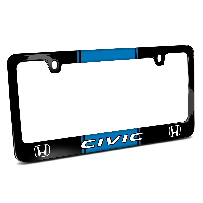 Honda Civic Blue Racing Stripe Black Metal License Plate Frame