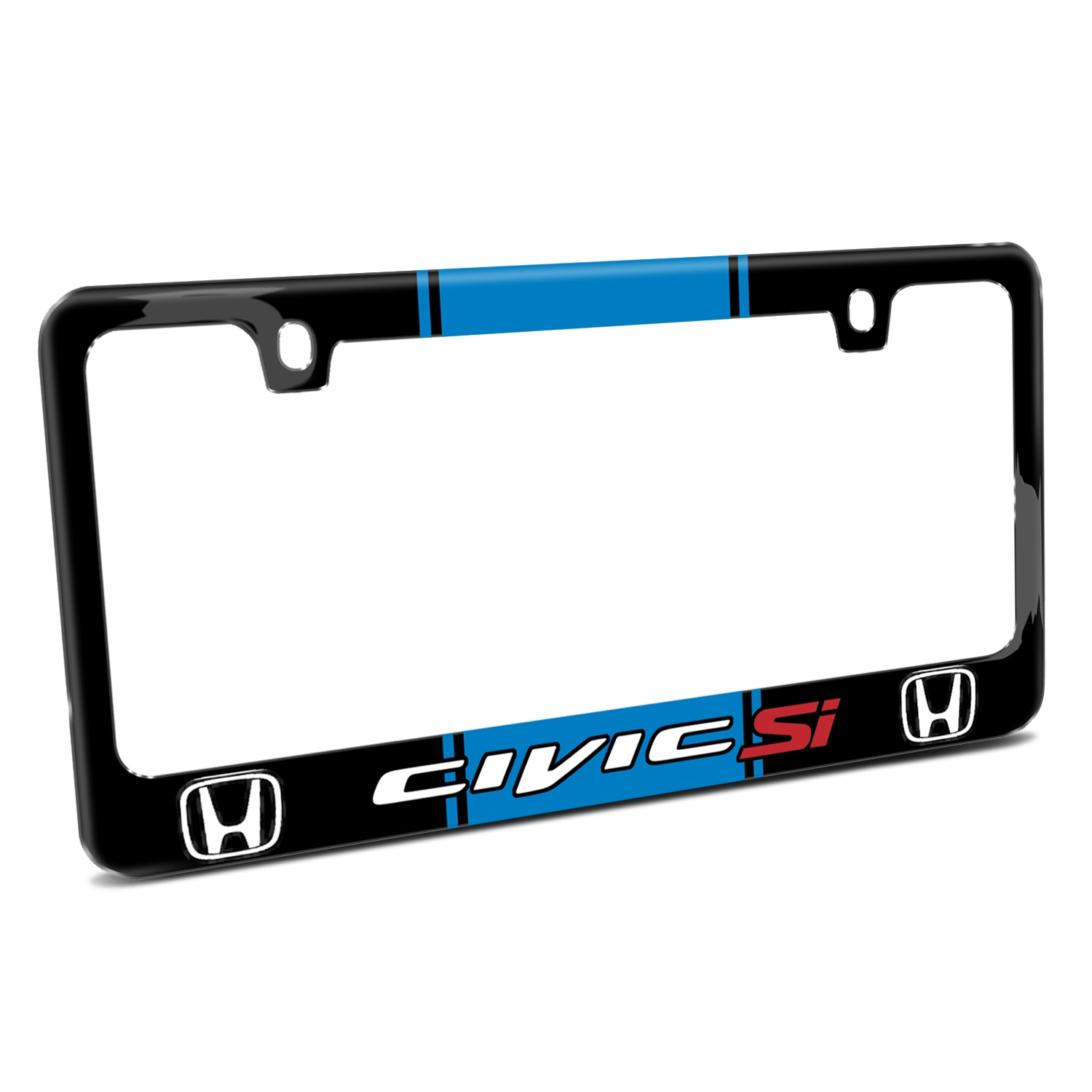 Honda Civic Si Blue Racing Stripe Black Metal License Plate Frame