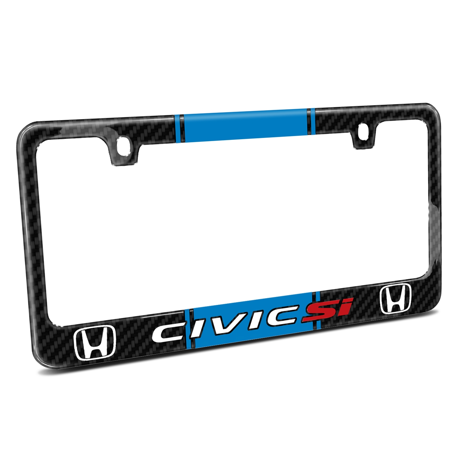Honda Civic Si Blue Racing Stripe Black Real Carbon Fiber License Plate Frame