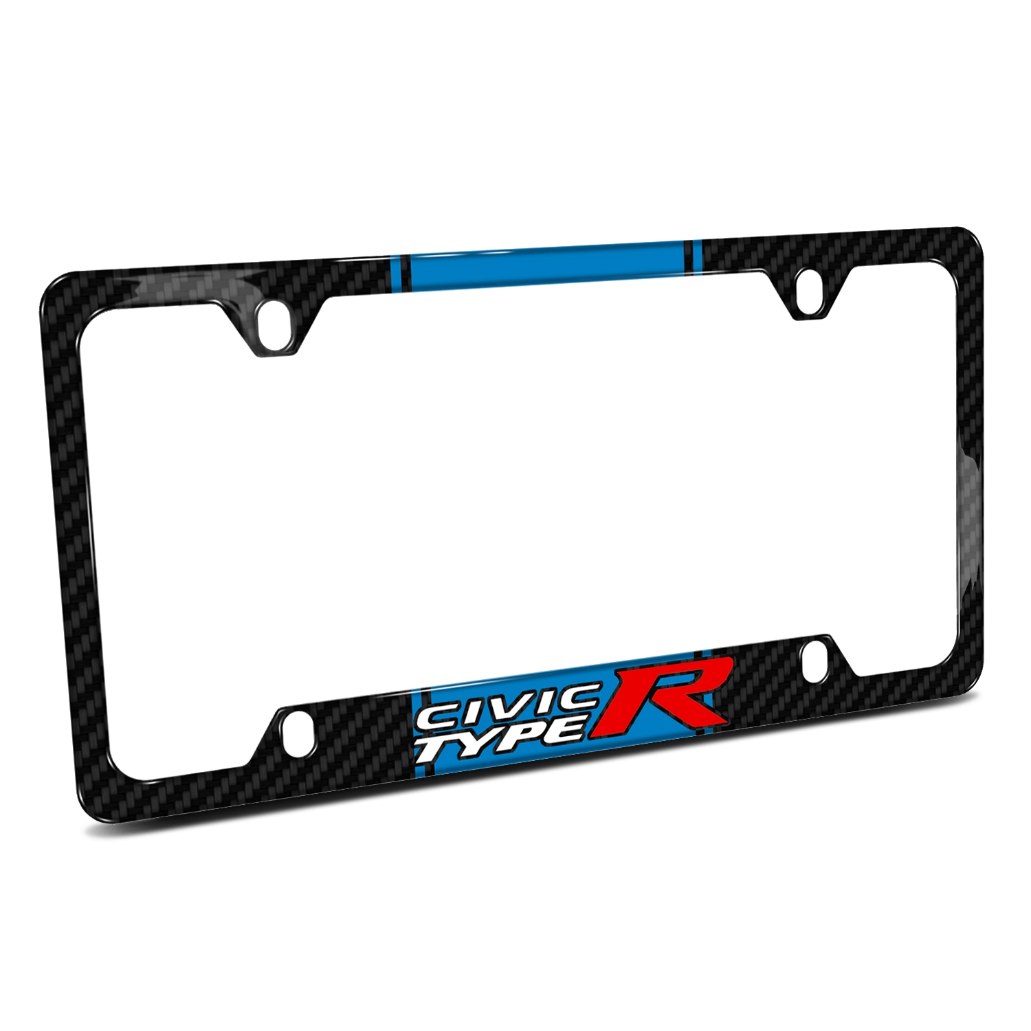 Honda Civic Type R Blue Racing Stripe Black Real Carbon Fiber 50 States License Plate Frame